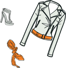 Illustration of a jacket, a scarf and a shoe